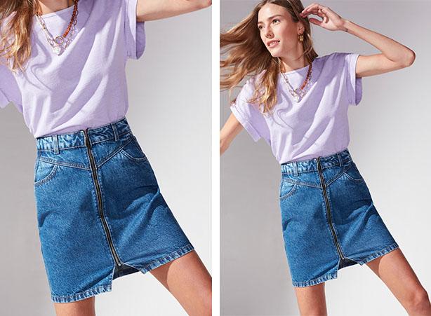 Look básico com camiseta e saia jeans