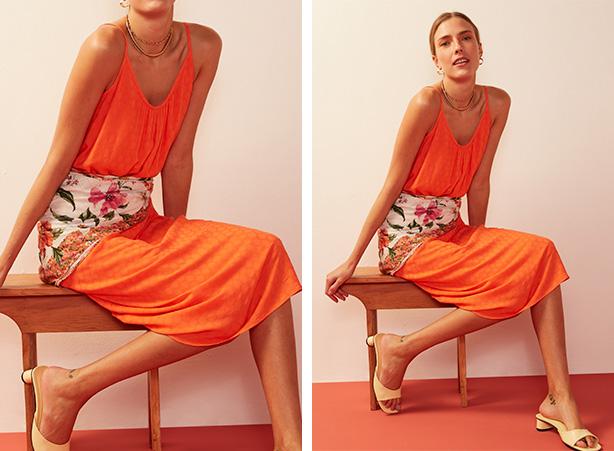Vestido midi laranja para o verão