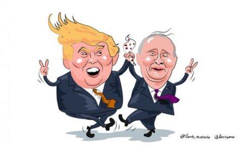 Трамп және Путинді бейнелейтін сайқымазақ.