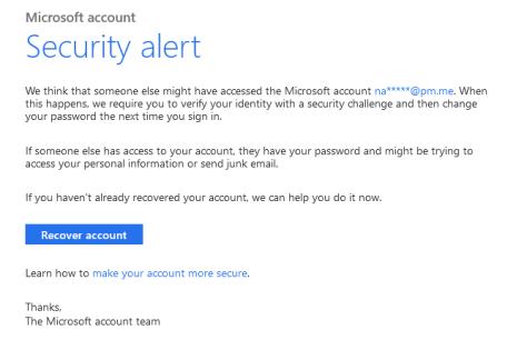 A Microsoft security alert.
