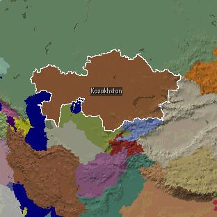 Қазақстан мен Орта Азияның картасы.