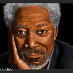 """Dantebus - """"Ritratto Morgan Freeman - tavoletta grafica"""" By art side"""