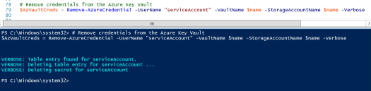 Remove Credentials from Key Vault