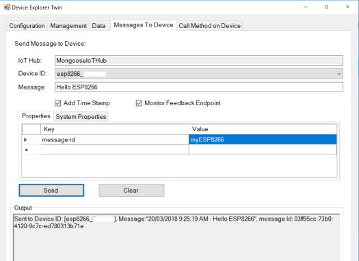 MongooseOS MQTT Azure IoT - DeviceExplorer to IoT Device