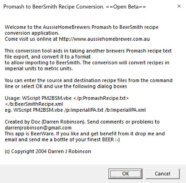 Promash to BeerXML BeerSmith BeerTools Recipe Converter