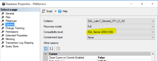 FIMService Database Version