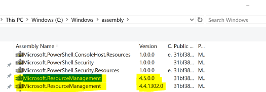 Multiple Versions of Microsoft.ResourceManagement DLL.PNG