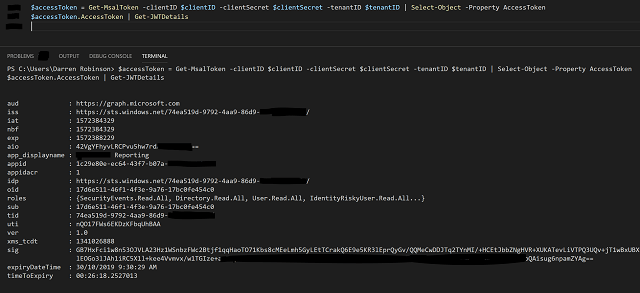 Access Token via decode in PowerShell with JWTDetails