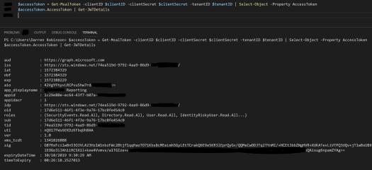 Access Token via decode in PowerShell with JWTDetails