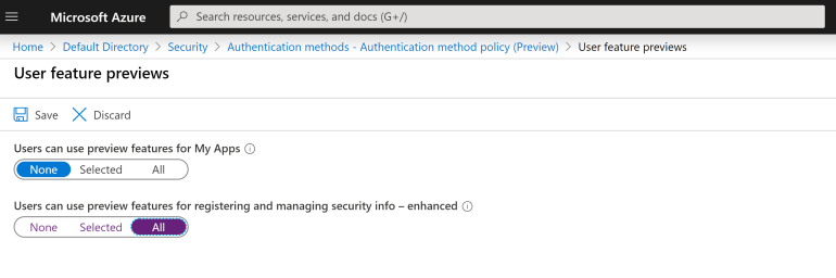 Azure AD User Preview Features