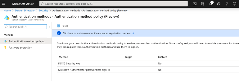 Enable Passwordless AuthN on Azure AD
