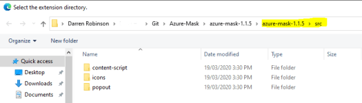 Azure Mask Source - Chrome Edge Load Unpacked