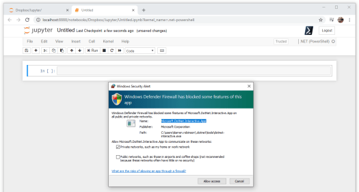 Enable Windows Defender Firewall for .NET Interactive
