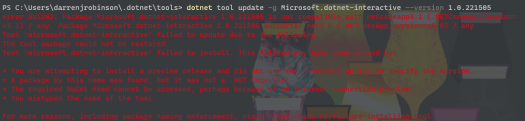 Microsoft.dotnet-interactive is not compatible with netcoreapp3.1