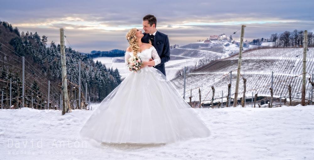 Hochzeit Fotos mit viel Schnee in Durbach  David Anton