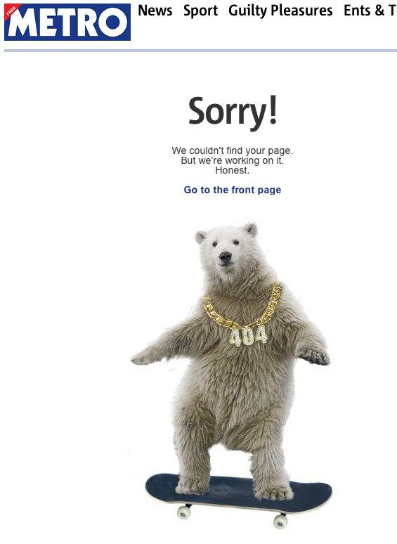 Metro's 404 Error Page