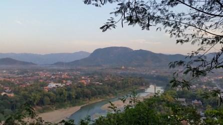 View towards old bridge showing Nam Khan river
