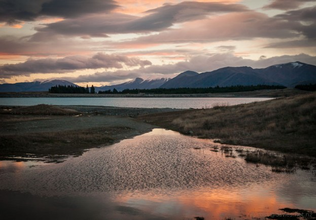 Sunset over Ben Ohau Range across Lake Pukaki
