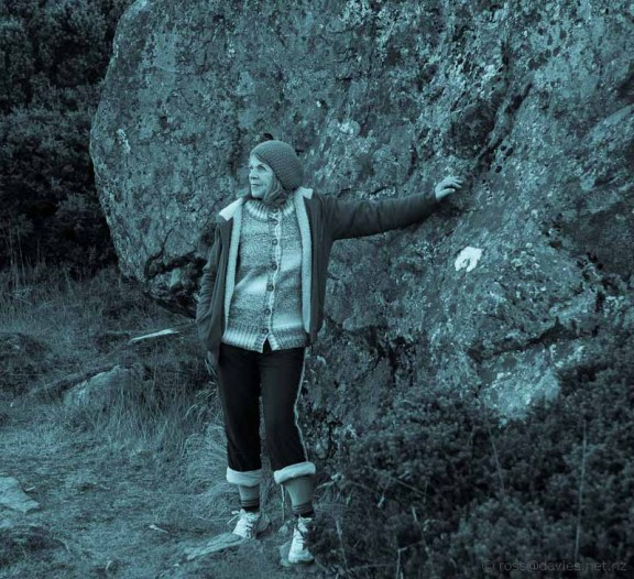 Winifreda at the same rock that Freda was photographer beside