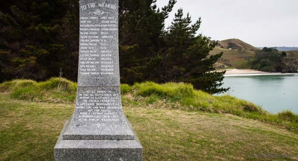 Memorial to ship Capitaine Bouganville overlooking Whananaki Beach
