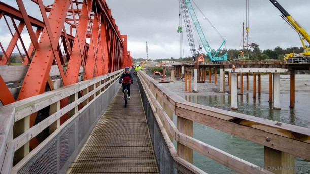 Biking over the Taramakau River bridge.