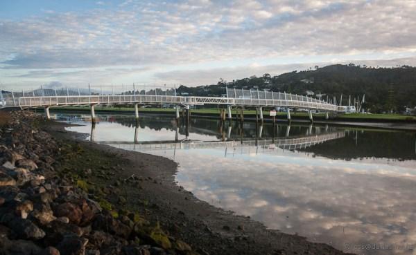 Sunrise Hatea River Whangarei - a new footbridge on the walkway