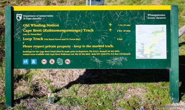 Whangamumu Harbour walk sign