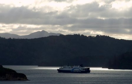 Bluebridge interisland ferry on Queen Charlotte Sound nearing Picton