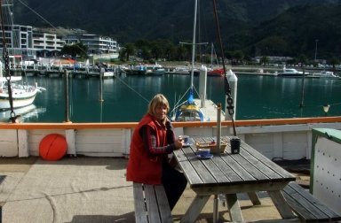 Coffee at the cafe on the boat at Picton
