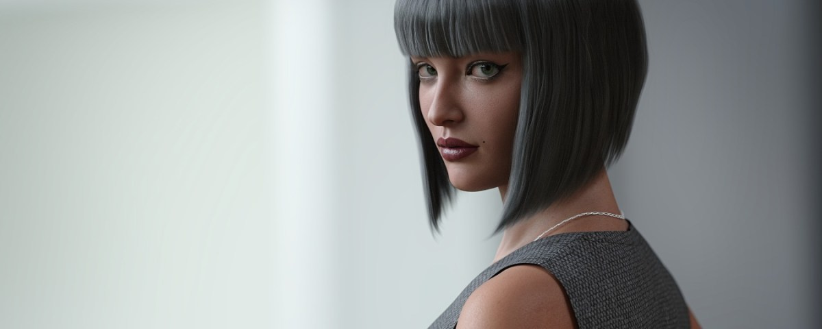 a 3D model with dark hair looks over her shoulder