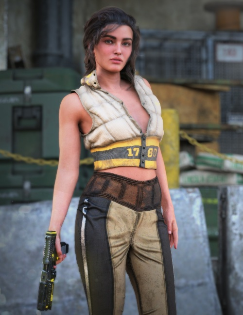 a female 3D model poses in front of an industrial background