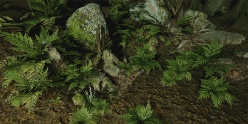 several free 3D models put together to create a lush, green environment