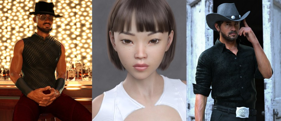 a collage of Daz 3D characters: Silas, Sukai, and Holt