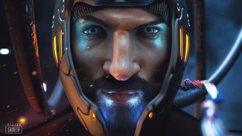 a rendered closeup of a man with a mustache wearing a sci-fi helmet