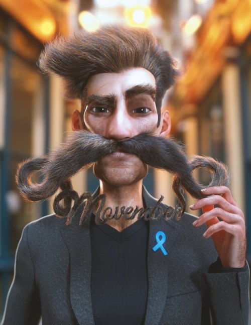 """a render of a man with a large mustache that spells out """"Movember"""""""