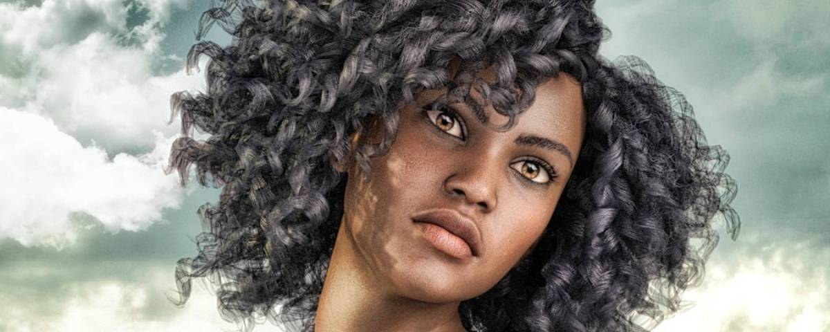 a woman with dark, curly hair looking off into the distance, in the Daz 3D galley by daveso