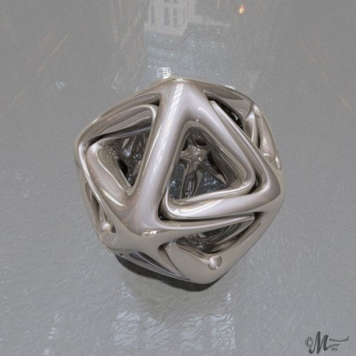a metallic icosahedron with a glossy background