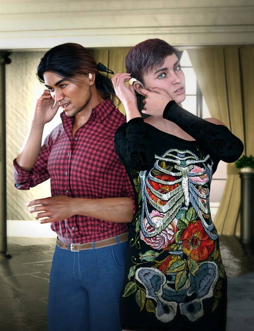 a female and male character putting on their hearing aids