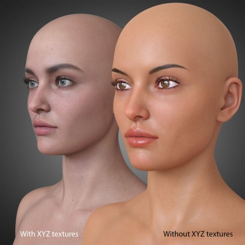 an example of a character with and without texturing XYZ textures