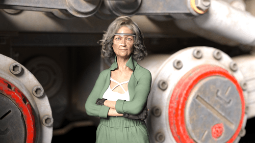 an aged woman wearing safety goggles crosses her arms while standing in front of a large mechanical piece