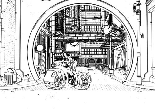 the 2D line art of a scene in Daz Studio