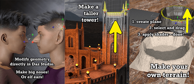 an image demonstrating how the mesh grabber tool can alter character meshes, buildings, environments, and more