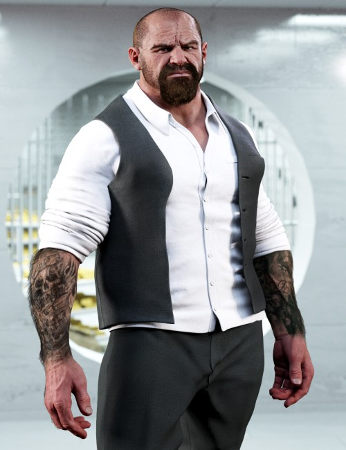 Underbelly 8 in a formal outfit with the sleeves rolled up to reveal tattoos