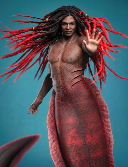 Zale 8.1 in his merman form posing in front of a blue background