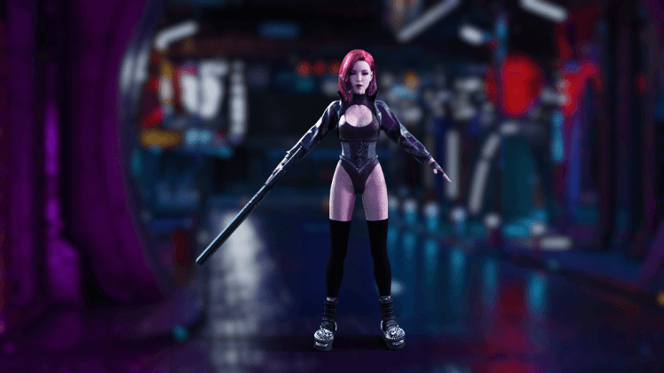 character in neon city setting