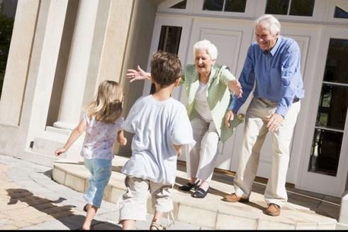 grandparents welcoming grandchildren.