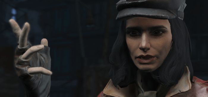 Piper Wright, displaying two of the Fallout 4 mods listed below.