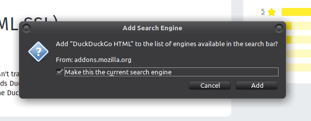 The pop-up for adding the DuckDuckGo search engine to the Firefox browser.