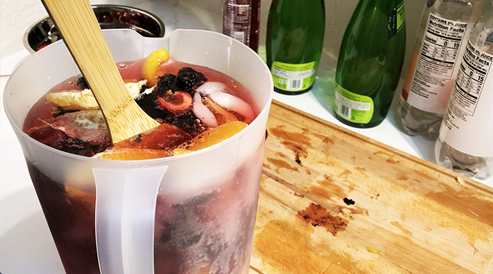 Add chopped fruit to the pitcher for low-sugar sangria