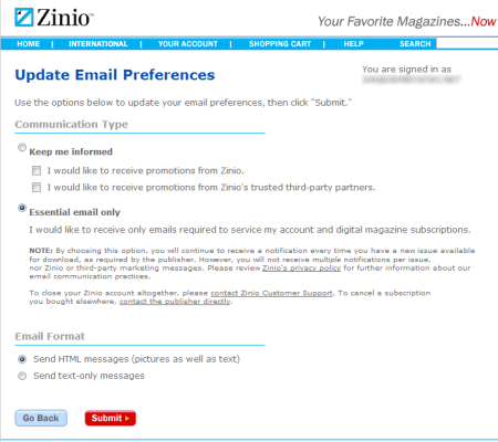 Zinio is a spammer (resolved) - Mostly Harmless